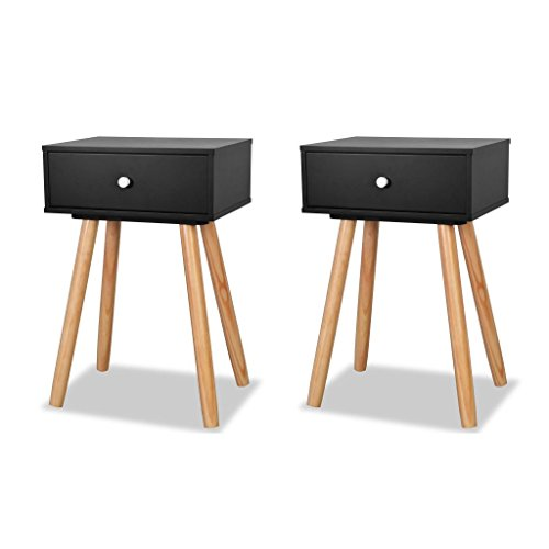 Festnattset med 2 st trä sängbord sidobord förvaring enheter skåp sovrum möbler med låda för vardagsrum, 40 x 30 x 61 cm svart