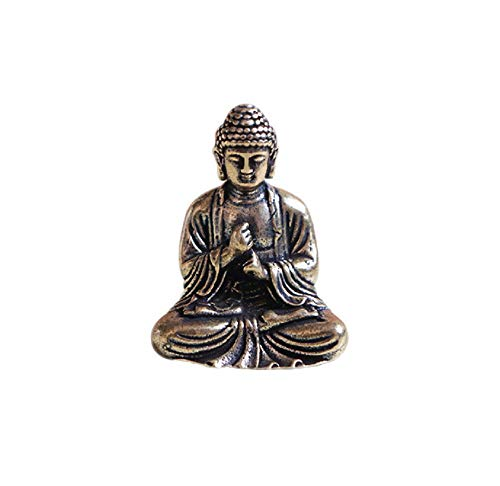 DMtse Brass Mini Antique Sakyamuni Buddha Statue Ornaments Meditation Seated Pose Journey Worship Attractive & Serene Small Pocket Buddha Statue Figurine
