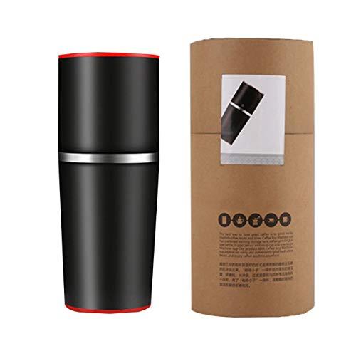 LTLWSH Przenośny ręczny młynek do kawy, pojedynczy kubek ekspres do kawy ceramiczny młynek do kawy kubek regulowany z wbudowanym systemem mielenia i parzenia do podróży na kemping do biura, czarny