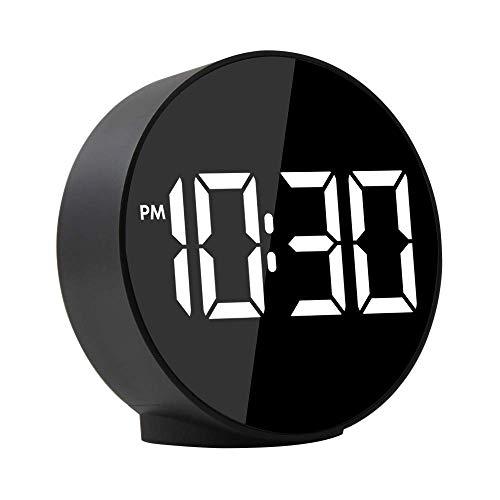 LED-Anzeige Digitaler Wecker, Klatsch-Nachlauf, 12/24 H, 4 Helligkeits- und Nachtmodes, Temperaturerkennung, USB-Stromversorgung und Pufferbatterie, Schlafzimmer-Reisewecker
