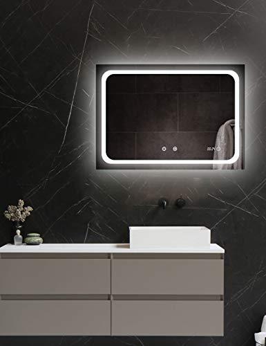 ApeJoy® LED Badspiegel 70 x 50cm mit Uhr Antibeschlage Badezimmerspiegel mit Beleuchtung Kaltweiß Licht Wandspiegel energiesparend AJ02s