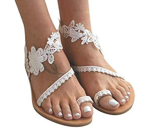 QLIGHA Sandalias Moda para Mujer Sandalias con Anillo en el Dedo del pie con Clip Sandalias Planas Florales Verano Encaje Correa en el Tobillo Zapatos de Playa Sandalias sin Cordones Flor Sin Cordo