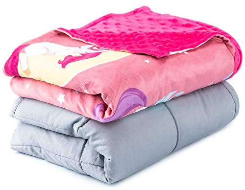 Sweetzer & Orange Weighted Blanket for Kids 7lbs Heavy Blanket, Best for 58-88lb Children - Warming and Cooling Weighted Comforter with Minky Cover (7lb, Yawning Unicorns)