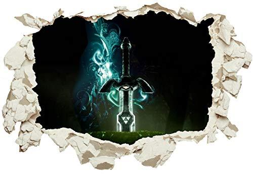 Unified Distribution Legend of Zelda Schwert - Wandtattoo mit 3D Effekt, Aufkleber für Wände und Türen Größe: 92x61 cm, Stil: Durchbruch