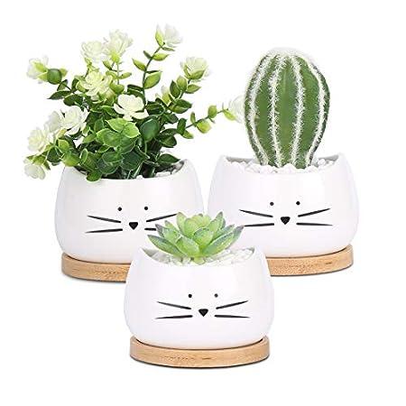 【11/22まで】Oforest ねこ柄のかわいい鉢植え 3個セット 549円(183円/個)送料無料!