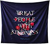 Vbttmp Black Tapestry Treat People with Kindness Tapestry Wall Hanging 30x30 inch Starry with Rose Flower Tapestry Psychedelic Tapestry Poster Wall Decor for Bedroom Living Room Dorm