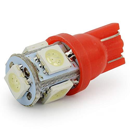 Multifunción 10pcs T10 llevó la bombilla LED T10 W5W 194 168 coches Fuente de luz de la lámpara 5 SMD 5050 Indicador de tablero llevado lado de la señal de la luz trasera de cuña Ahorro de energía y d