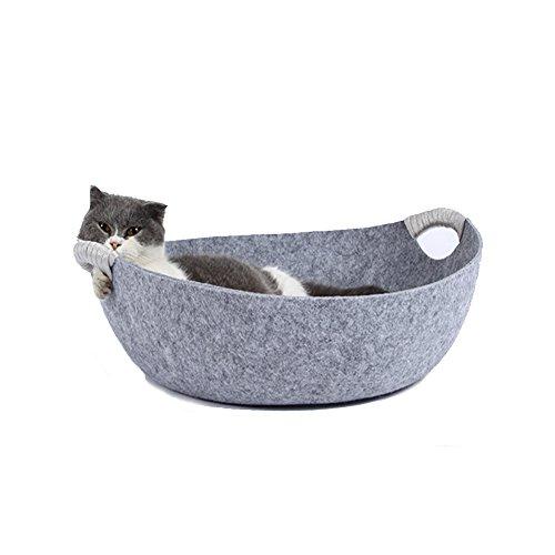 LeerKing Katzenbett Katzenkorb Katzensofa Hundebett Katzenhöhle für alle Katzen und kleine Hunde in Topfform-Design 45 * 45 * 15cm Grau