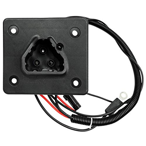 Charger Receptacle Fits for Golf Carts, EZGO RXV Electric TXT 48V 2008 UP | OE Replacement 602529 604321 611218, Plug 3-Pin Triangle Handle