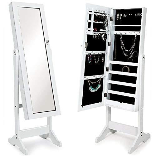 BAKAJI Espejo joyero modelo Ginebra armario joyero espejo con puerta porta objetos, armario organizador porta joyas (blanco)