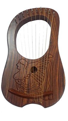 New Lyre arpa arpa irlandese in palissandro, con stemma/Irish Lyra 10 corde di metallo, a forma di arpa