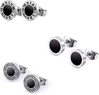 316L Surgical Stainless Steel Stud 3 Pairs 8mm Earrings Set for Womens Hypoallergenic Round Stud Ear Piercing Jewelry Silver