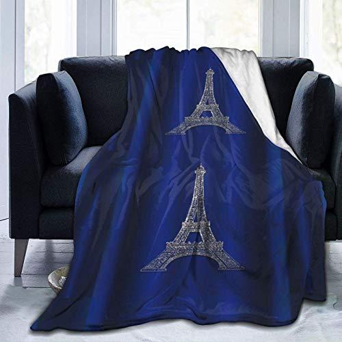 AEMAPE Königsblau Silber Eiffelturm Paris Modern Glam Cosy Throw Flanelldecken Warme Decke 153X127CM