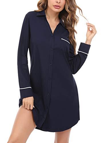 Doaraha Nachthemd Damen Langarm Knopfleiste Durchgehend, Schlafshirt mit Kragen Sexy Boyfriend Sleepshirt Kurz (Dunkelblau, M)
