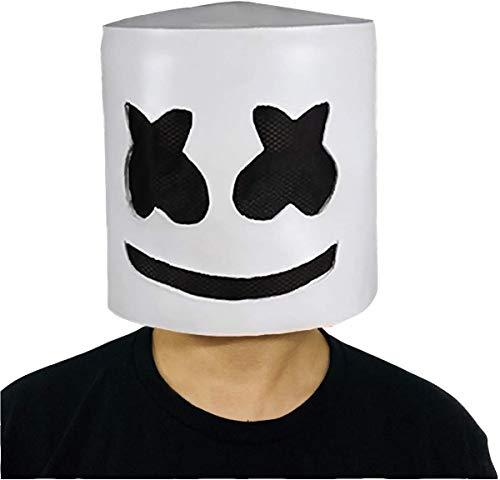 QYWSJ Marshmello DJ-Maske, DJ Helm für Kinder/Erwachsene, LED Marshmello DJ Maske Vollkopfhelm, Cosplay Marshmallow Party Bar Musik Prop Latex Masken