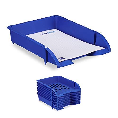 Relaxdays Ablagefächer stapelbar, 10er Set, DIN A4 Papier, Briefe, Büro, Schreibtisch, Dokumentenablage Kunststoff, blau