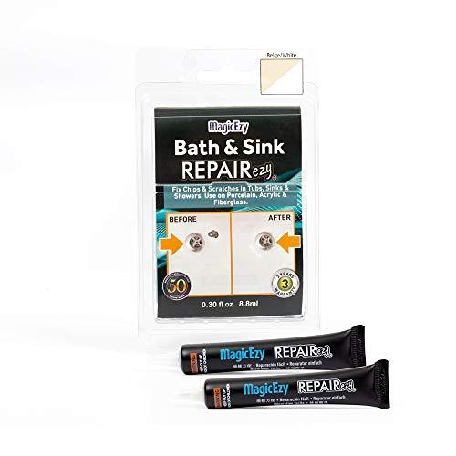 Magic Easy Baño y lavabo Reparación fácil: Reparar Chips rápido - Kit de reparación fácil para fibra de vidrio, acrílico, porcelana (Beige y blanco)