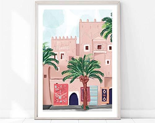Marruecos/ciudad/palmeras/arquitectura/pequeña calle lienzo pintura arte familia sin marco pintura decorativa A20 50x70cm