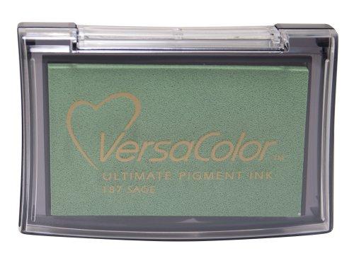 Tsukineko Versacolor Pigment Stempelkissen Salbei, Synthetic Material, Gruen, 9.8 x 6.8 x 1.8 cm