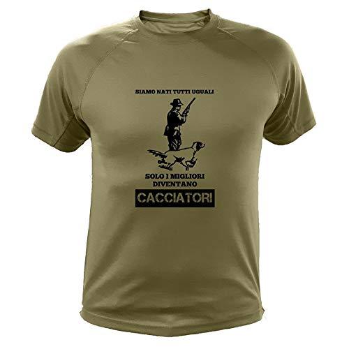 AtooDog Maglietta da Caccia, Cacciatore e Cane, Siamo Nati Tutti Uguali Solo i Migliori Diventano Cacciatori (40139, Verde, M)