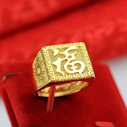 Keai Verstelbare open herenringplaat met 24 karaats gouden snijwerk en Fuku ring