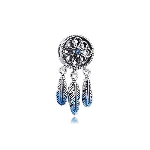 LILANG Pandora 925 Pulsera de joyería Natural se Adapta a Cuentas de atrapasueños Azules para dijes de Plata esterlina para Mujer, Regalo DIY