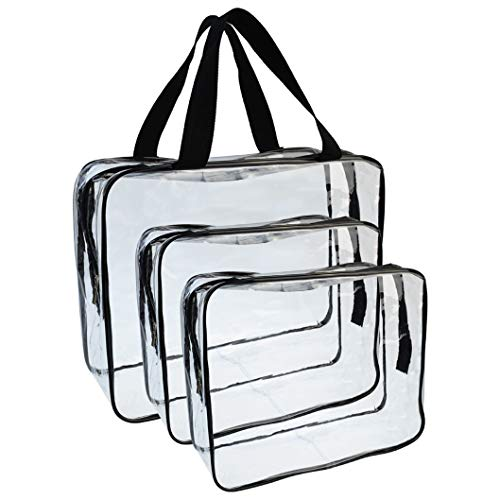 Wobe 3 Pcs Portable Clear Makeup Bag Zipper Waterproof Cosmetics Bag Transparent Travel Storage Carry Pouch PVC Zippered Toiletry Bag Organizers for Vacation Travel, Bathroom