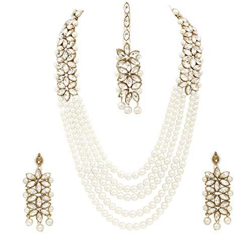 Sanara - Juego de collar de perlas blancas tradicionales, chapado en oro antiguo, estilo étnico Bollywood