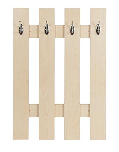 ts-ideen Garderobe wandgarderobe hal paneel haak rail esdoorn hout 4 haken 100 x 70 cm