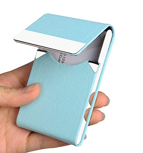 Business Card Holder Case - JuneLsy Professional PU Leather Business Card Case Metal Name Card Holder Pocket Business Card Carrier for Men & Women with Magnetic Shut (Light Blue-y)
