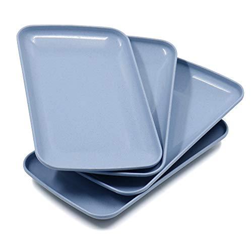 Roucerlin Lot de 4 grandes assiettes rectangulaires incassables en paille de blé Passe au lave-vaisselle Assiettes à salade légères pour fruits, collations, pâtes (23,6 cm, bleu)