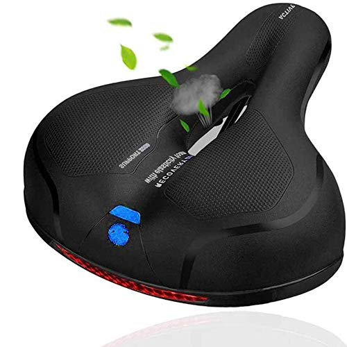 Comfortable Bike Seat-Padded Soft Bicycle Cushion Memory Foam Waterproof Wide Bike Saddle with Dual Shock Absorbing Rubber Balls Universal Fit for Indoor/Outdoor Bikes with Red Warning Strip(Blue)