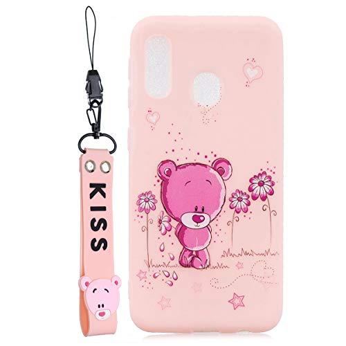 WOOHOO Handyhüllen Kompatibel mit Samsung A20e Hülle Teddybär Cartoon Silikon Tiere Schutzhülle Süß Case Cover Mit Gurt für Frauen Kinder - Rosa