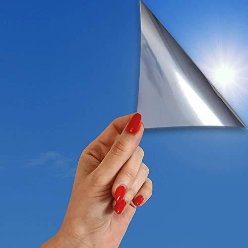 SolarScreen 9,88€/m² Spiegelfolie Silber statische Fensterfolie 2m x 0,91m Selbsthaftende Folie für Sonnenschutz Sonnenschutzfolie UV-Schutz Spionfolie