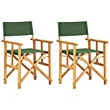 vidaXL 2X Solid Acacia Wood Director's Chairs Patio Chairs Folding Makeup Artist Telescope Chairs Space Saving Seat for Garden Brown and Green