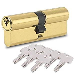 BETOY Cilindro cerradura, Cilindro de Alta Seguridad, Leva Larga, Llave - Llave, Latonado, 40/40(80mm) Cilindro de doble vuelta para puertas/entradas exteriores