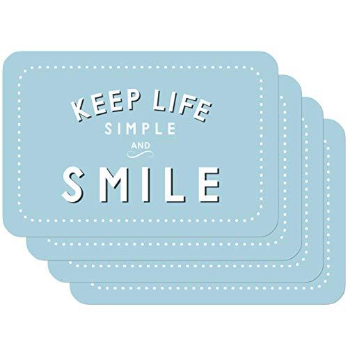 Venilia Smile Salvamanteles Keep Life Simple and Azul, Mantelería, Mantel Individual para el Comedor, Apto para Alimentos, 4 tajada, 45 x 30 cm, 59072, 30 x 45 cm