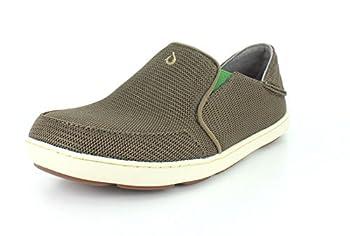OLUKAI Men s Nohea Mesh Slip-On Shoes Dark Shadow/Dark Shadow 9