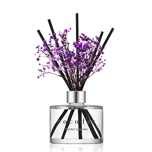 Cocod'or Preserved Real Flower Reed Diffuser/Garden Lavender / 6.7oz(200ml) / 1 Pack/Reed Diffuser Set, Oil Diffuser & Reed Diffuser Sticks, Home Decor & Office