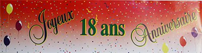 Banderole papier joyeux anniversaire 18ans - 0.16X2.44m - l'unité