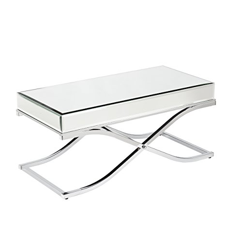 SEI Furniture Ava Mirrored Coffee Table, Cocktail, Chrome