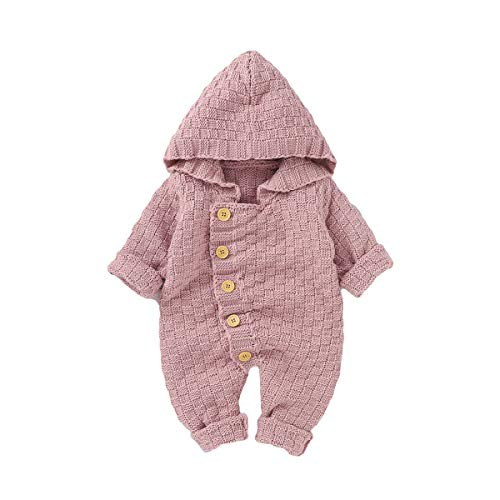 Neugeborenes Baby Kapuzen Strampler Wärmer Schneeanzug Bodysuit Overall Overalls für Jungen Mädchen (Rosa, 3-6 Monat)