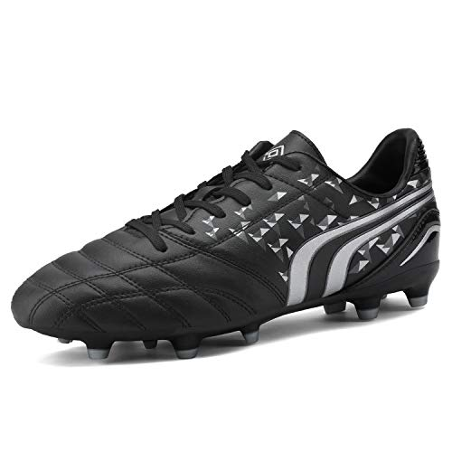 DREAM PAIRS Men's 160860-M Black Grey Cleats Football Soccer Shoes - 7.5 M US