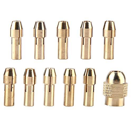 Pinza per trapano, 11 pezzi Pinza per trapano in rame a 4 griffe Set per mini trapano elettrico Smerigliatrice Ruota utensile 0,5-3,2 mm
