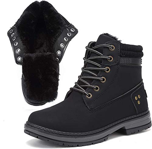 Xiakolaka Women Warm Winter Boots Fur Lined Combat Boots Lace up Ankle Booties