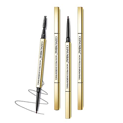 Golden Slim Eyebrow Pencil, Dual-Ended Sweat & Waterproof Ultra Fine Skinny Eyebrow Pen for Make Up 1 Count (Medium Brown)