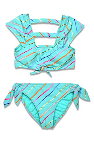 Hobie Girls' Cap Sleeve Bralette Bikini Top & Bow Tie Hipster Bottom Swimsuit Set, Seagreen//Rip Tide Stripe, 10