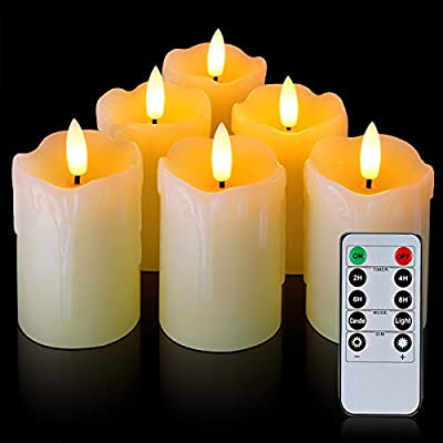 """Homemory Timer Remote Flameless Candles, Real Wax, 2"""" x 3"""" Flickering LED Pillar Candles, 400+Hour Realistic Battery Operated Votive Candles, 6 Pack for Wedding, Christmas Decoration by Global Selection"""