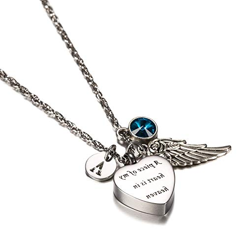 Bishilin Memorial Herz Anhänger Halskette Edelstahl März Geburtsstein F Buchstabe Flügel Urnen Herz Anhänger Halskette Freundschaftskette Silber
