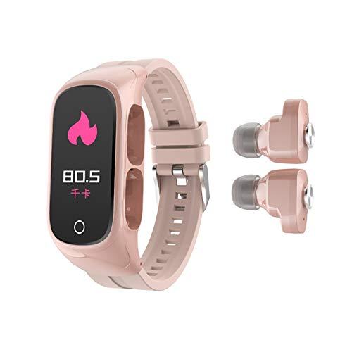 LXF JIAJU Disponibles Kumi SmartBand N8 Pulsera Inteligente 0.96'AMOLED Pantalla Colorida Color CORTÁNICA Correo DE Fitness Rastreador Bluetooth 5.0 Auriculares (Color : Pink)